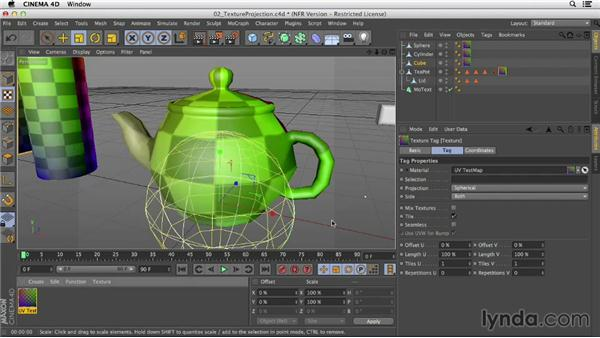 Selecting the appropriate projection mode for your model: Creating Materials in CINEMA 4D