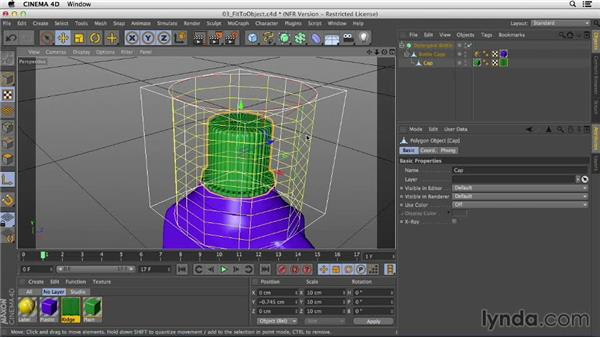 Adjusting material placement using the Fit to Object command and Texture Axis tool: Creating Materials in CINEMA 4D