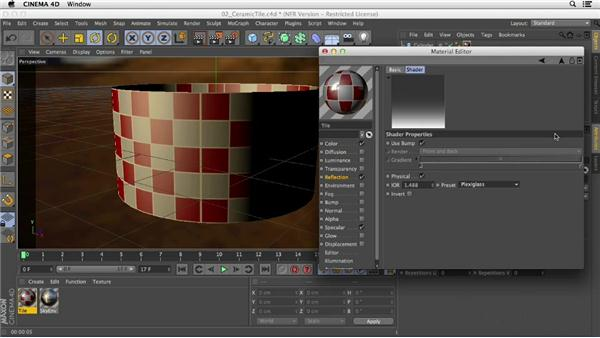 Creating a ceramic tile material using the Displacement and Bump channels: Creating Materials in CINEMA 4D