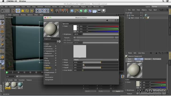 Adding soap scum to the ceramic tile's surface: Creating Materials in CINEMA 4D