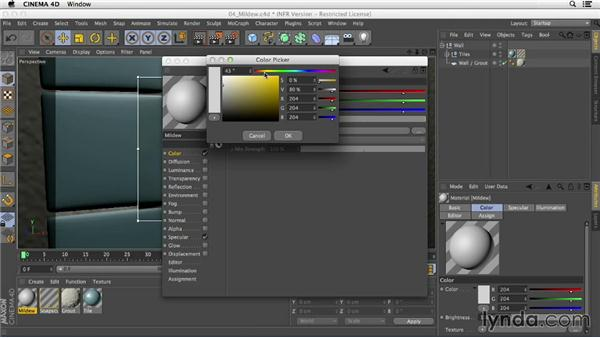 Adding mildew to the ceramic tile's surface: Creating Materials in CINEMA 4D