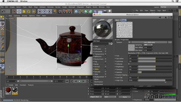 Creating a rusted metal material with the Layers shader: Creating Materials in CINEMA 4D