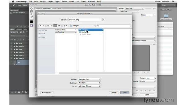 Saving web graphics from Photoshop: Create an Interactive Animated Timeline with jQuery