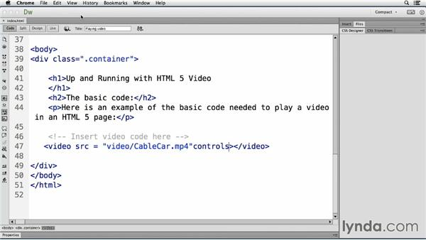 Exploring the HTML5 video tag: Up and Running with HTML5 Video