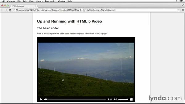 Supporting multiple video formats: Up and Running with HTML5 Video