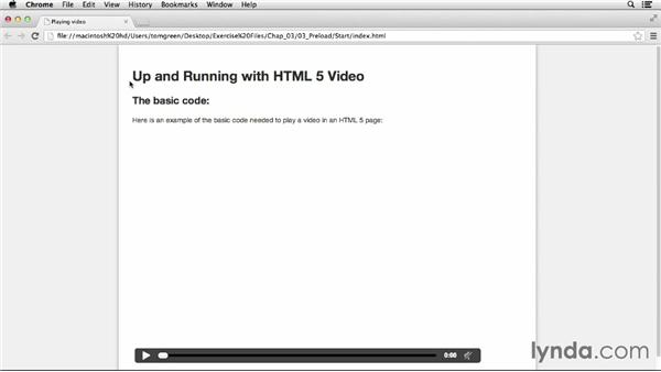 Preloading video: Up and Running with HTML5 Video