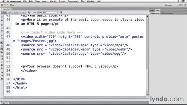 Working with poster frames: Up and Running with HTML5 Video