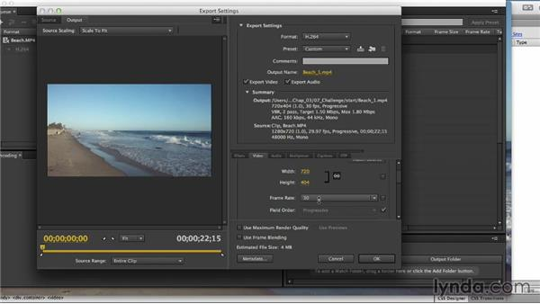 Solution: Shooting and encoding HTML5 video: Up and Running with HTML5 Video