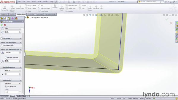 Looking at the Flange tool: Sheet Metal Design with SOLIDWORKS