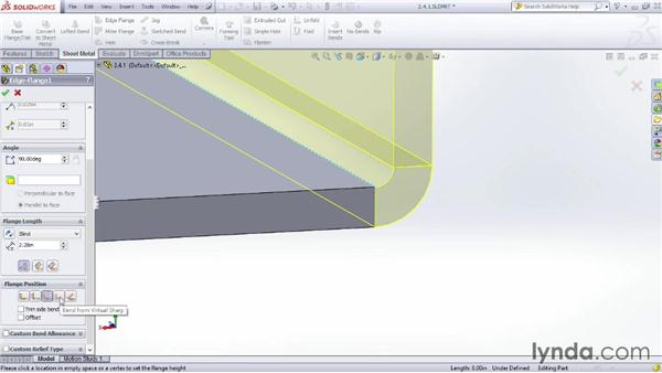Making an edge flange: Sheet Metal Design with SOLIDWORKS