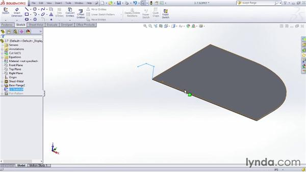 Making a swept flange: Sheet Metal Design with SOLIDWORKS