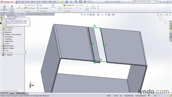 Using the Jog feature: Sheet Metal Design with SOLIDWORKS