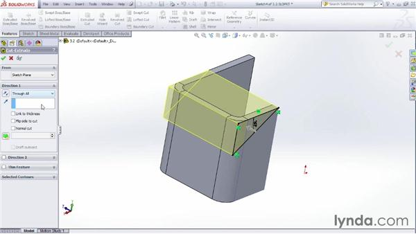 Making normal cuts in sheet metal: Sheet Metal Design with SOLIDWORKS