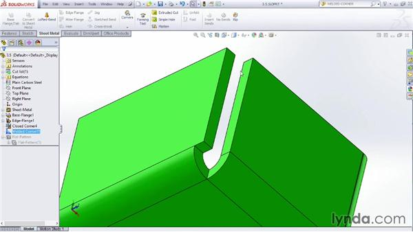 Adding welded corners: Sheet Metal Design with SOLIDWORKS