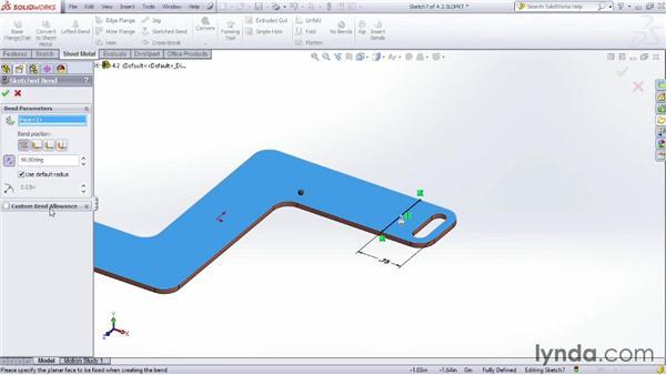 Adding sketched bends: Sheet Metal Design with SOLIDWORKS