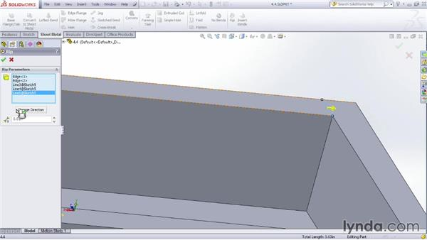 Looking at the rip feature: Sheet Metal Design with SOLIDWORKS