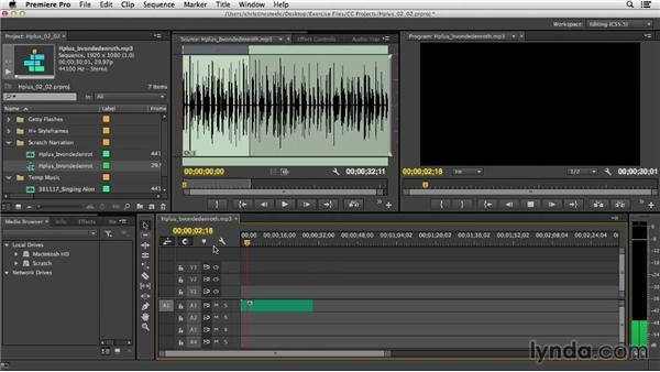 Starting previsualization by laying down an audio track: Commercial Editing Techniques with Premiere Pro