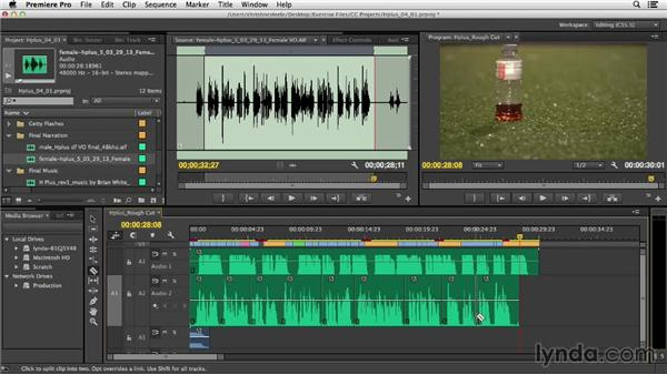 Replacing temp voiceover and music: Commercial Editing Techniques with Premiere Pro