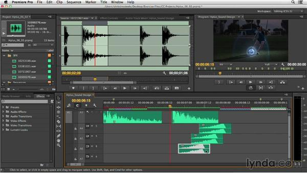Tweaking sound effects for timed sound design: Commercial Editing Techniques with Premiere Pro