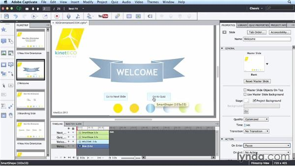 Inserting interactive elements: Up and Running with Captivate 7