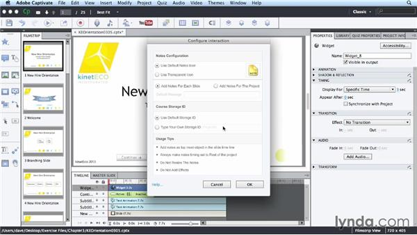Inserting a smart learning notes interaction: Up and Running with Captivate 7