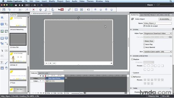 Adding video to a slide: Up and Running with Captivate 7