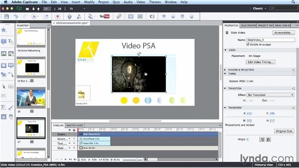 Synchronizing video: Up and Running with Captivate 7