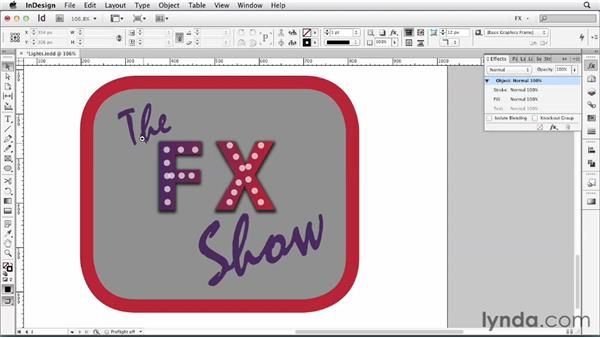 104 Creating a lighted sign: InDesign FX