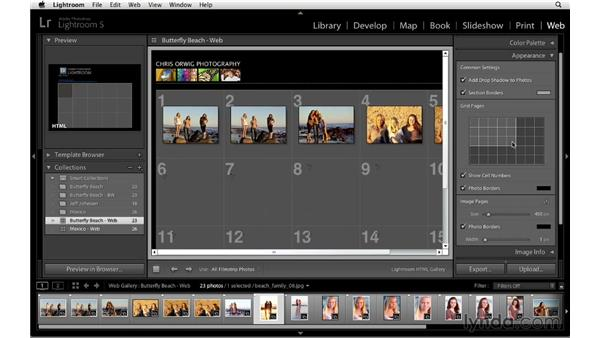 Changing the gallery's color and appearance: Lightroom 5 Essentials: 06 Creating Slideshows and Web Galleries