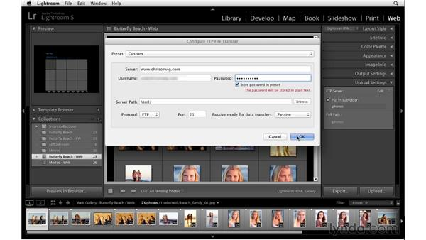 Uploading HTML galleries: Lightroom 5 Essentials: 06 Creating Slideshows and Web Galleries