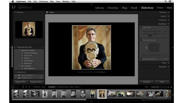 Customizing the background: Lightroom 5 Essentials: 06 Creating Slideshows and Web Galleries