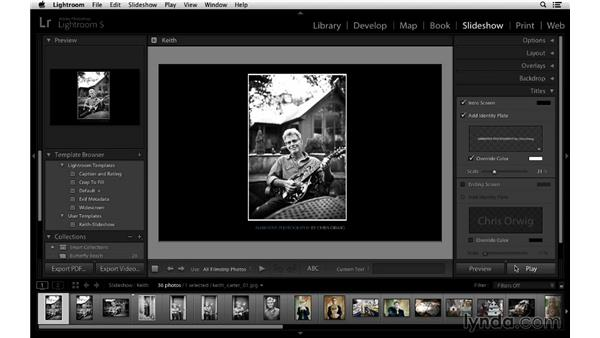 Adding beginning and ending title slides: Lightroom 5 Essentials: 06 Creating Slideshows and Web Galleries