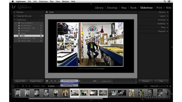 Exporting slideshows as JPEG, PDF, or video: Lightroom 5 Essentials: 06 Creating Slideshows and Web Galleries