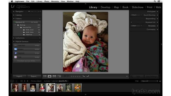 Selecting the video files: Lightroom 5 Essentials: 06 Creating Slideshows and Web Galleries