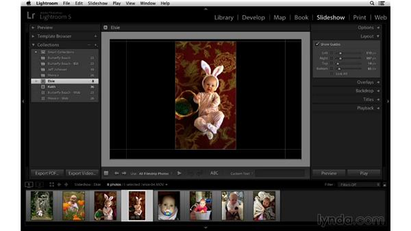Changing image order and customizing the layout: Lightroom 5 Essentials: 06 Creating Slideshows and Web Galleries