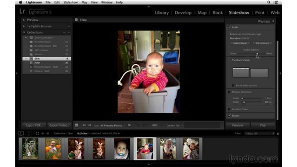 Adding a soundtrack and balancing the audio levels: Lightroom 5 Essentials: 06 Creating Slideshows and Web Galleries