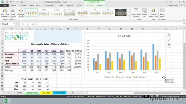 Creating charts with the keyboard and the Quick Analysis tool: Excel 2013: Charts in Depth