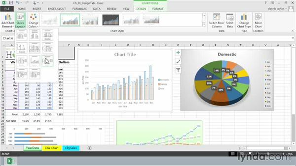 Choosing a chart layout with the Quick Layout option: Excel 2013: Charts in Depth