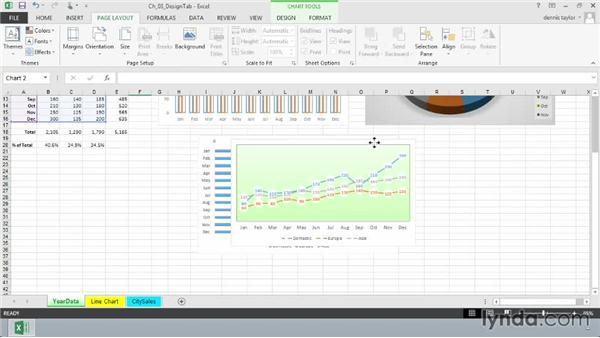 Selecting chart colors from the Colorful and Monochromatic palettes: Excel 2013: Charts in Depth
