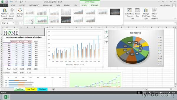 Choosing a chart style from a gallery of colorful variations: Excel 2013: Charts in Depth