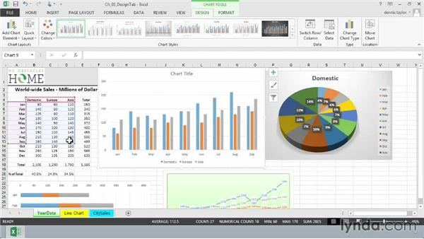 Changing the location of a chart's source data: Excel 2013: Charts in Depth