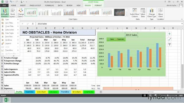 Adding, editing, and removing chart titles: Excel 2013: Charts in Depth