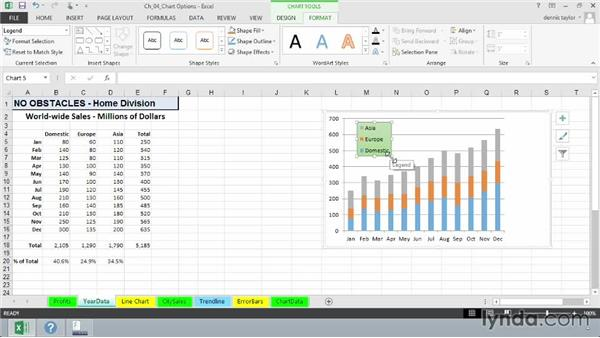 Adding, editing, and removing legends: Excel 2013: Charts in Depth
