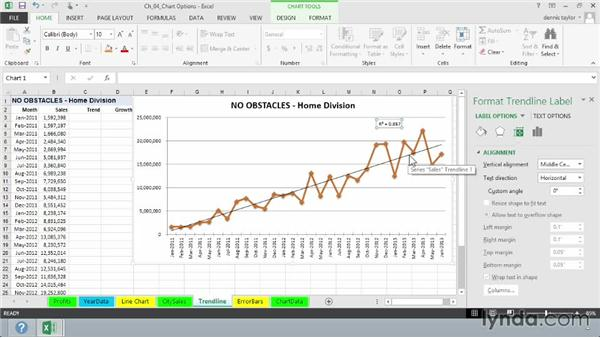 Analyzing existing and future data with trendlines: Excel 2013: Charts in Depth