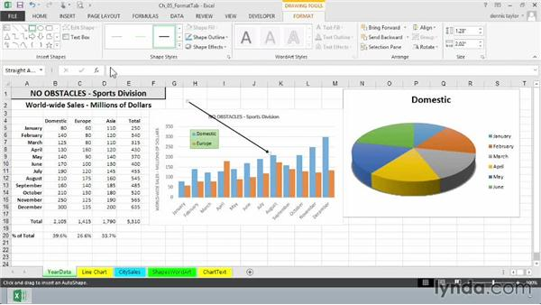 Adding shapes and arrows: Excel 2013: Charts in Depth