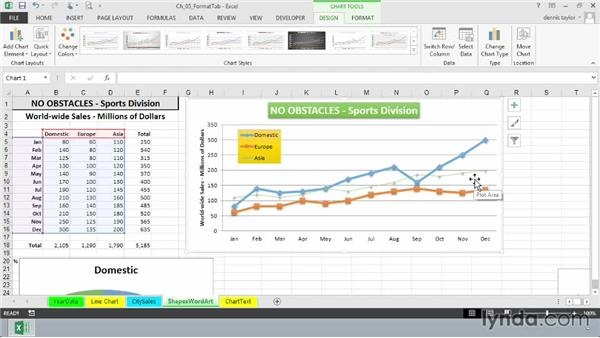 Selecting shape styles, fill, and the outline: Excel 2013: Charts in Depth