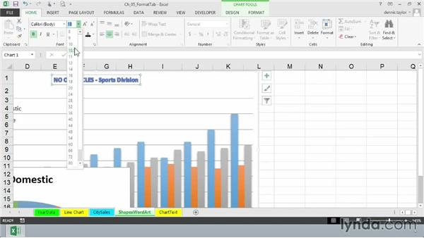 Applying WordArt styles: Excel 2013: Charts in Depth