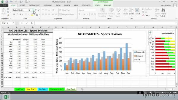 Working with chart text: Excel 2013: Charts in Depth