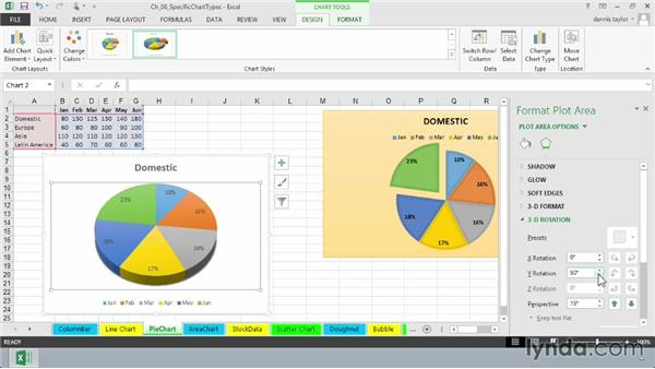 Using pie charts: Excel 2013: Charts in Depth