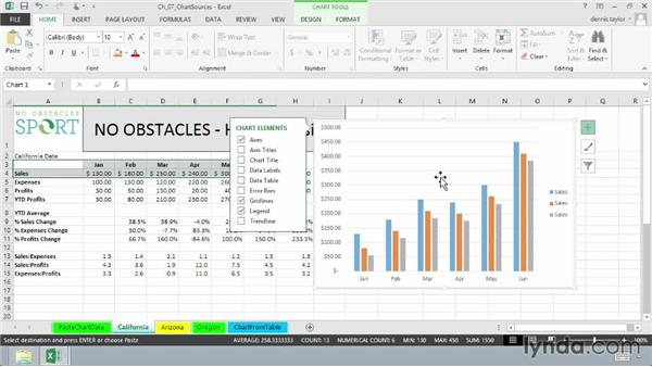 Creating charts from multiple data sources: Excel 2013: Charts in Depth